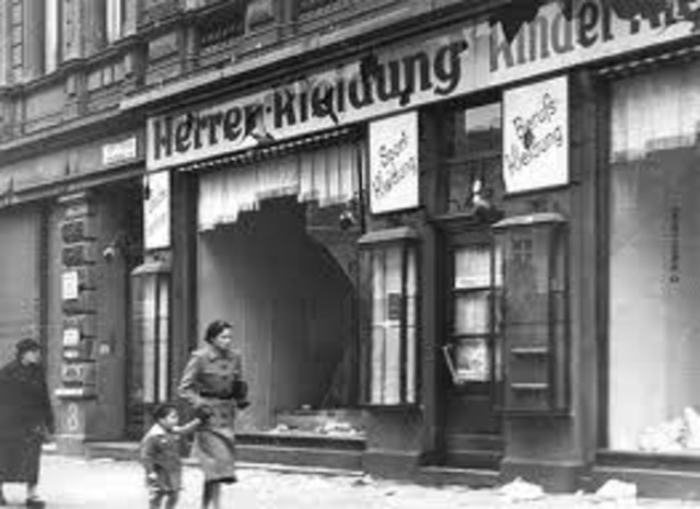 "Kristallnacht (""Night of Broken Glass""): Nazi organized nation-wide pogroms result in the burning of hundreds of synagogues; the looting and destruction of many Jewish homes, schools, and community offices; vandalism; and the looting of 7,500 Jewish store"