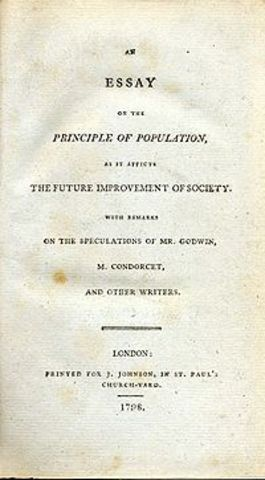 Publication of Malthus' Essay on the Priciple of Population.