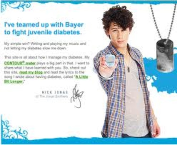Nick appears in a commercial for Bayer's Contour Meter