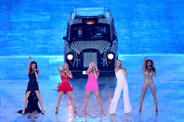 The Spice Girls preform for the 2012 Olympics closing ceremony