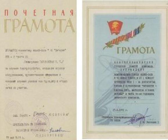 Грамота к 54 годовщине Ленинского комсомола