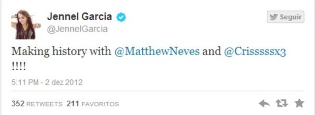 """""""Hora de estúdio com o @MatthewNeves e @Crisssssx3!! Quem está pronto para um álbum?"""""""
