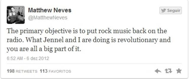"""""""O principal objetivo é colocar o rock de volta no rádio. O que Jennel e eu estamos fazendo é revolucionário e vocês todos são uma grande parte disso."""""""