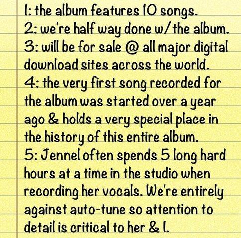 Fatos sobre o álbum de estréia da Jennel