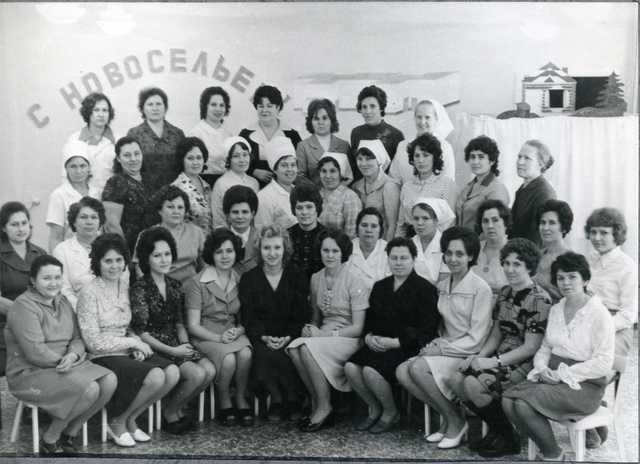 Коллектив сотрудников в день открытия яслей-сада №1 «Родничок» 1976 год
