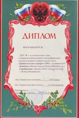 Достижения коллектива 2002 год