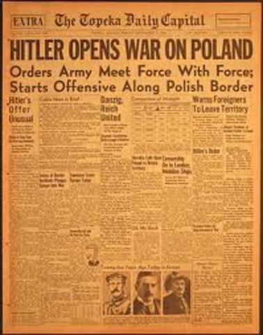 Germany invades Poland; France and Great Britain declare war on Germany