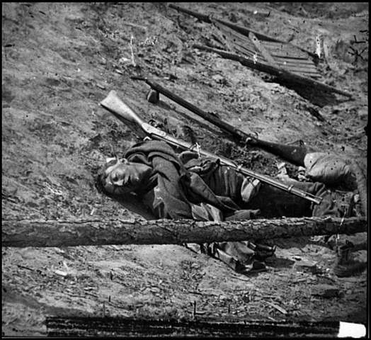 Dead Confederate Soldier with Gun
