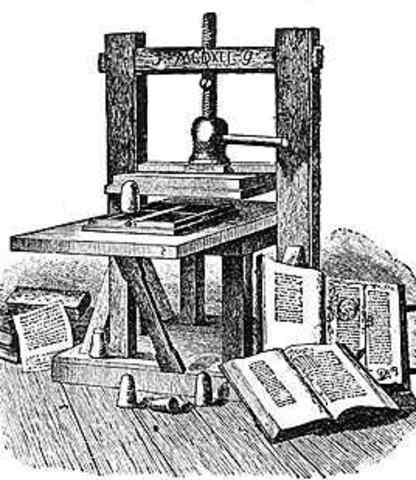 Gutenberg Uses a Printing Press with Movable Type