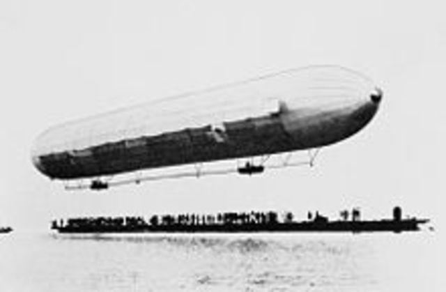 The first zeppelin was built.