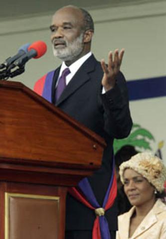 René Préval is sworn in as president of Haiti