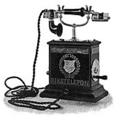 The first telephone was invented.