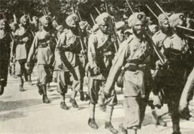 Indian soldiers returned from the war.