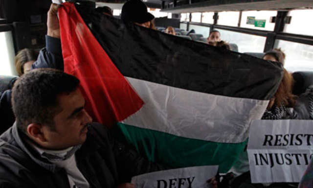 """Palestinians Protest """"Racist"""" Bus Policy"""