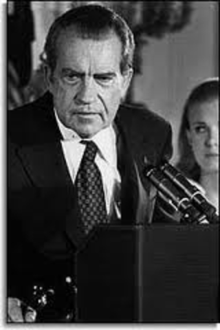 President Richard Nixon resigns.