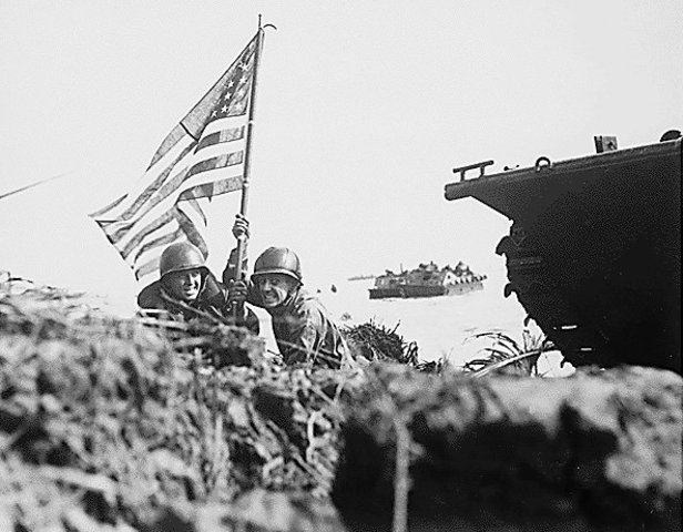Guam Liberated by USA. Okinawa and Iwo-Jima Bombed.