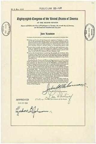 U.S. Congress passes Gulf of Tonkin Resolution