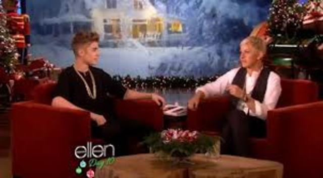 Justin appears on Ellen1