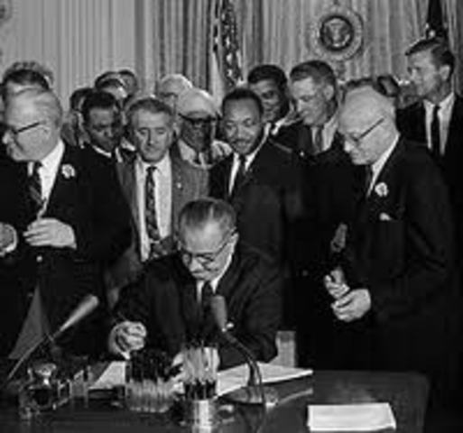 President Johnson signs the Civil Rights Act