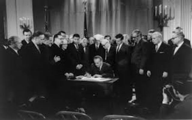 The Civil Rights Act of 1964 is passed.