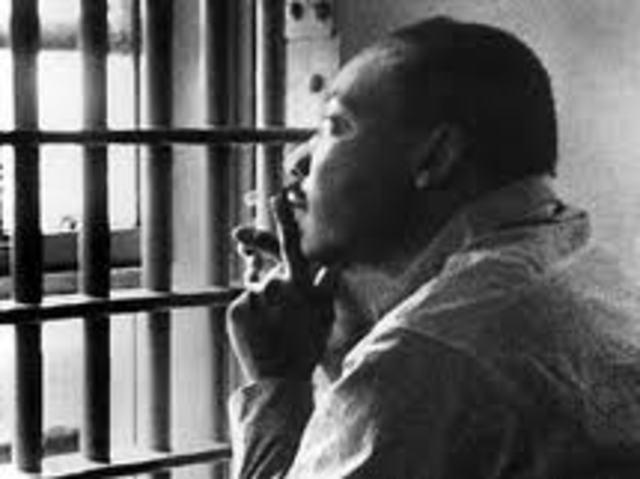 "MLK writes his ""Letter from Birmingham Jail""."
