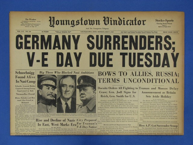 Germany surrenders to the western Allies.