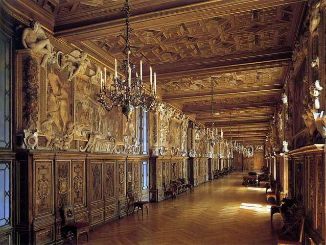 Gallery of King Francis I, Fontainebleau, France by Rosso Fiorentino and Francesco Primaticcio