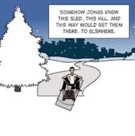 Jonas finds a sled on top of a hill, rides it, and hears music and singing. He thought it could be real or just an echo.