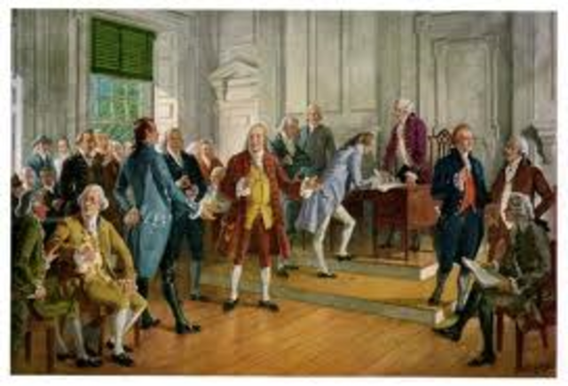 The signing of the Decleration of Independance