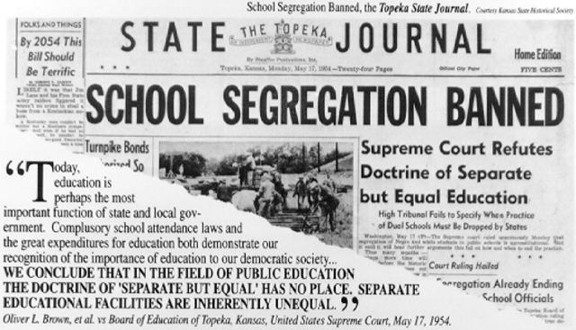 Surpreme court rules on segregation case of Brown Vs Education department