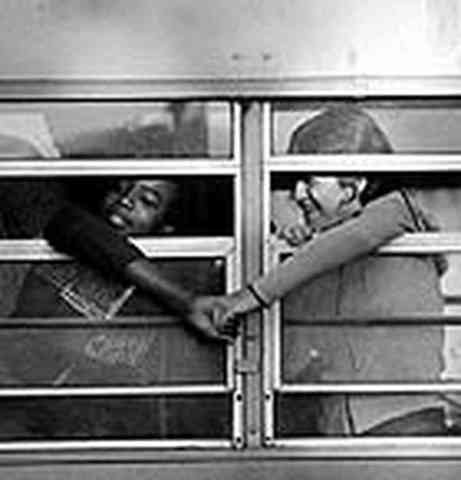 Students volunteer to test out the now de-segregated busses