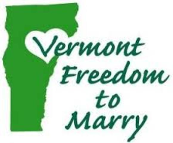 Vermont becomes first state to legally recognise civil union between gays and lesbians.