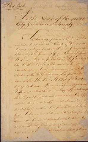Treaty of Paris (1783) is signed