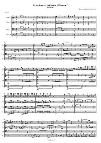 Quartet nº 62, en do major, op. 76 nº 3  Haydn