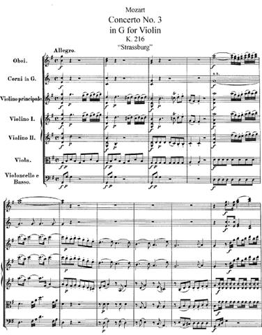Concert per a violí nº3, en sol major, KV 216 – Mozart