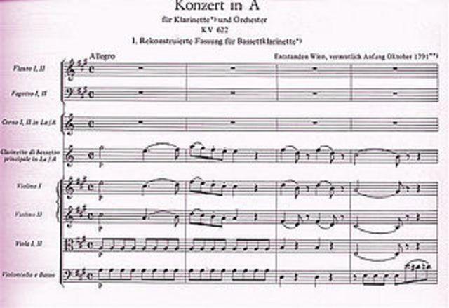 Concert per a clarinet, en la major, KV 622 – Mozart
