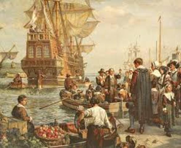 Pilgrims set sail.