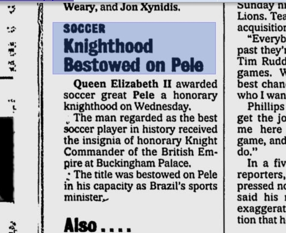 Honourary Knighthood