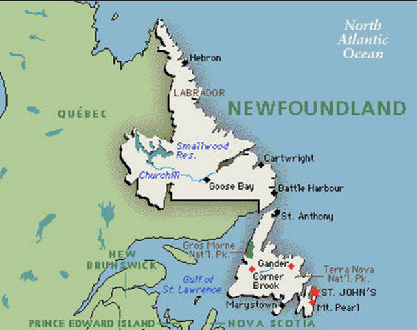 He traveld to the Newfoundland