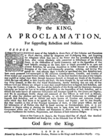 King George III formally proclaims colonies in rebellion