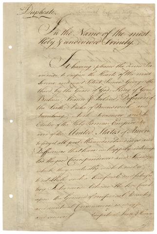 Resolution- Treaty of Paris of 1783
