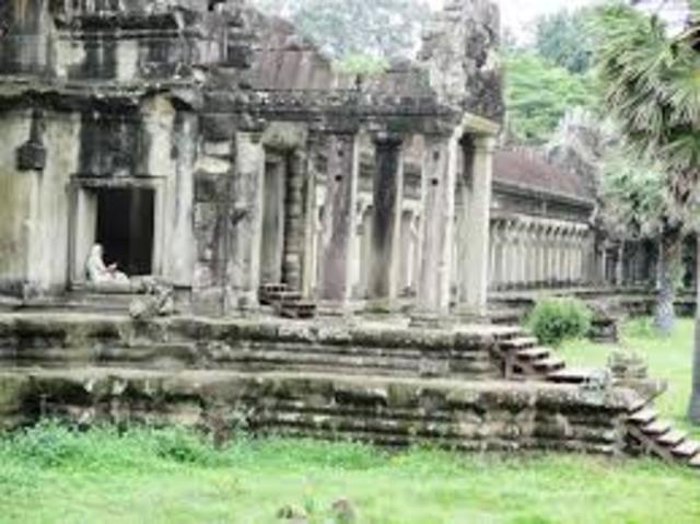 The Thai sack Angkor, enslaving thousands and causing the the Khmer to move to the Phnom Penh region.