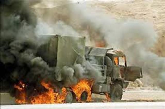 UNHCR truck hit by a mine.
