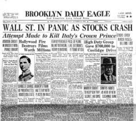 """Black Thursday"" the stock market crashes"