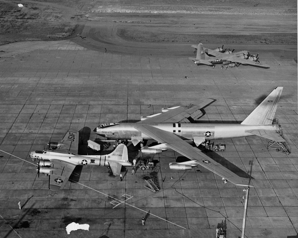 Boeing makes the B-52 bomber. It has eight turbojet engines, intercontinental range, and a capacity of 500,000 pounds.