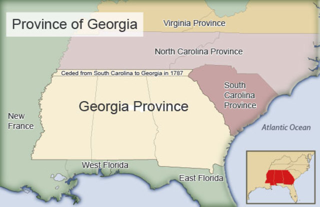 Map Of Georgia Colony.13 Colonies Timeline Project Timetoast Timelines