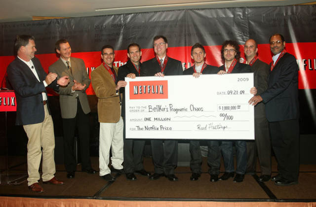 "Netflix Prize awarded to ""BellKor's Pragmatic Chaos"" team"