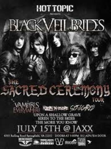 Get Scared joins Hot Topic's Scared Ceremony's Tour alongside Black Veil Brides and Vampires Everywhere! (Summer of 2010)