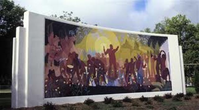 """Aaron Douglas painting """" Aspects of a Negro Life"""""""