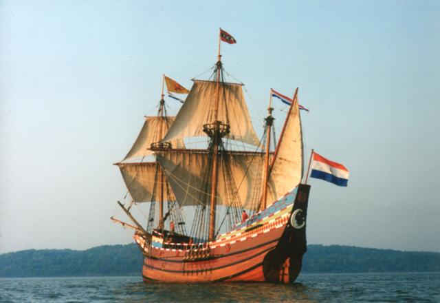 Henry Hudson's ship the Half Moon arrives in New York Harbor